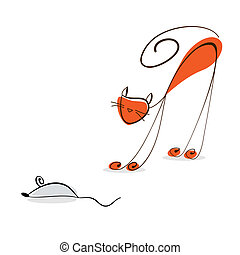 Red cat catches a mouse. Cartoon illustration on white