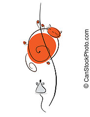 Plump red cat runs away from the mouse. Cartoon illustration...
