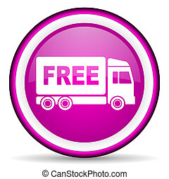free delivery violet glossy icon on white background -...