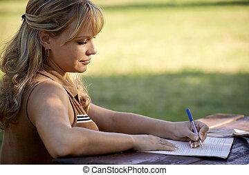 人々, 勉強, 大学, 若い, 教育, テスト, 女の子