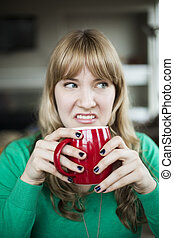 Young Woman Making an Ugly Face