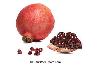 pomegranate - isolated ripe pomegranate on white background