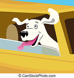 Dog Car Ride - An image of a dog car ride