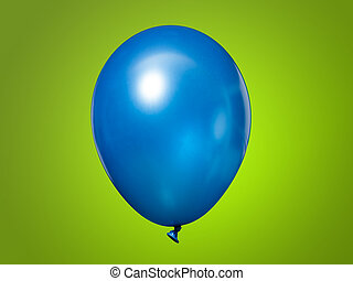 Blue Balloon isolated on a green background