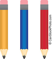 Pencil Colors - Different colored regular pencils isolated