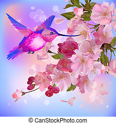Vector greeting card with branch of flowers and humming-bird...