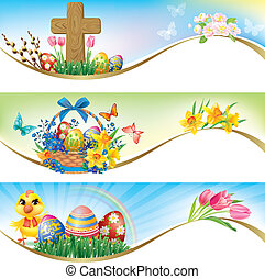 Easter horizontal banners. Contains transparent objects....
