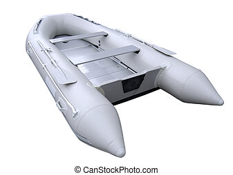 grey inflatable boat with path - isolated inflatable boat on...