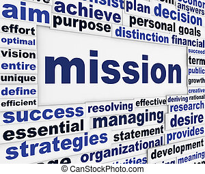Mission creative words poster design. Creative goal...