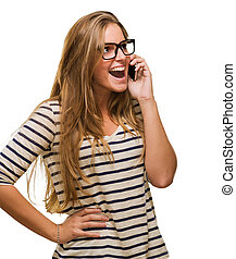 Surprised Woman Using Cell Phone against a white background