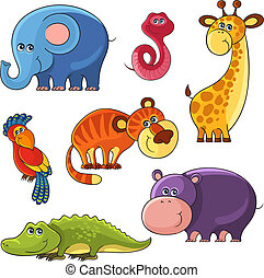 African wild animals set - Collection of vector cartoon...