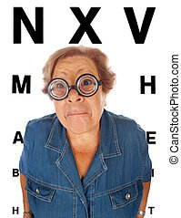 Elderly woman with table for eye exam