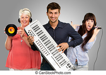 Happy Family Listening To Music On Gray Background