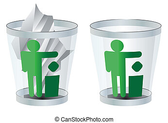 trash can vector illustration isolated two versions of eps 8