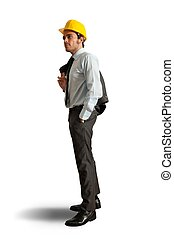 Engineer - Young positive engineer on white background