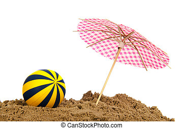 Beach with ball and parasol - Concept beach with ball ald...