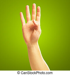 Sign Of Hand And Finger On Green Background