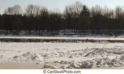 neris river in winter - Neris River in winter and ice...