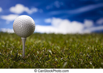 Golf club and ball in grass - Golf ball on green grass over...