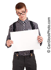 Portrait of a young man with blank board