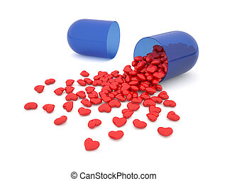Heart pills - 3d illustration of pills laid out as a heart...