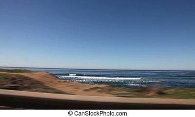 Sunset Cliffs drive, San Diego - Driving along Sunset Cliffs...