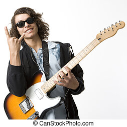Boy with guitar gestures - A boy with an electric guitar...