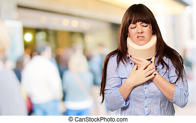 Woman Wearing Neckbrace, Outdoor