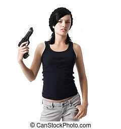 ragazza, fucile