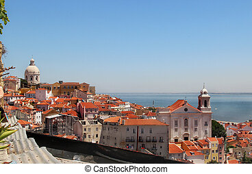 Beautiful view of Lisbon - Lisbon panorama, Portugal...