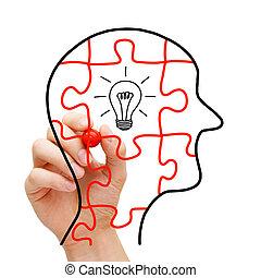 Creative Thinking Concept - Creative thinking concept Puzzle...