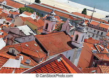 Lisbon roofs - Beautiful view of Lisbon tiled roofs