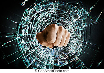 broken window fist - Fist punching thru a glass window...