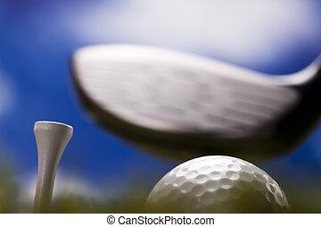 Playing golf - Golf ball on green grass over a blue...