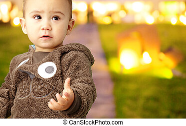 Baby Boy Wearing Warm Clothing, outdoor