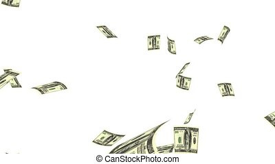 Raining Dollars - Raining Dollar notes on a white background...