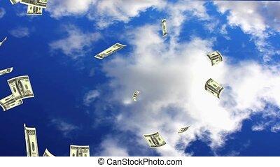 Raining Dollars - Raining Dollar notes from the sky.