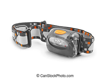 headlamp on white background closeup