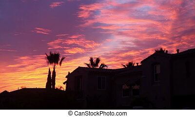 Beautiful sky at sunset - On a Point Loma street, San Diego,...