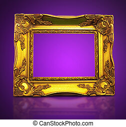 Golden Art Frame On Purple Background