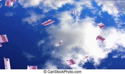 Raining Euros - Raining euro notes from the sky