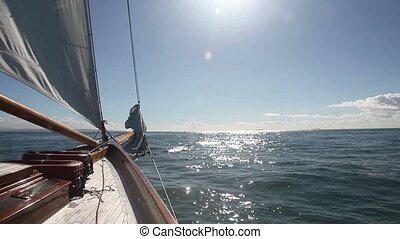 Sailboat on the sea - Sailing on the open ocean, with...