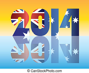 Australia Flag 2014 Silhouette Illustration - Happy New Year...
