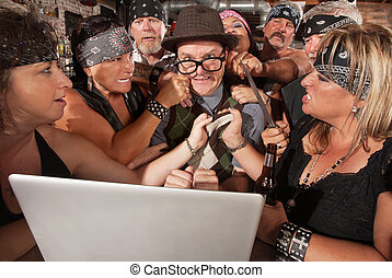 Gang Holds Up Nerd on Computer - Annoyed motorcycle gang...