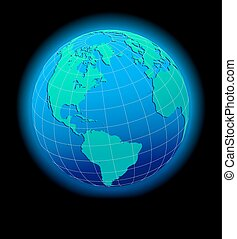 North South America, Europe, Africa - Vector Map Icon of the...