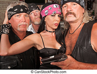 Biker Gang with Beautiful Woman - Three motorcycle gang...