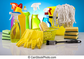 Group of assorted cleaning  - House cleaning products
