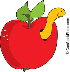 Apple and Worm - A red apple with a yellow worm poking out...