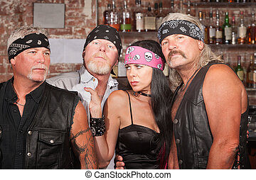 Lady with Three Tough Men - Sexy lady with 3 tough...