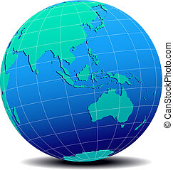 Asia and Australia, Global World - Vector Map Icon of the...